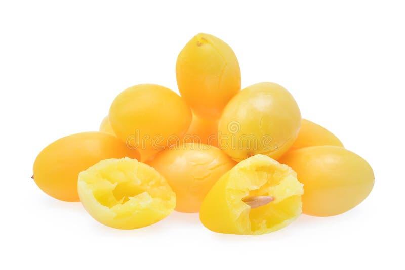 在白色背景隔绝的煮沸的银杏树坚果 库存照片