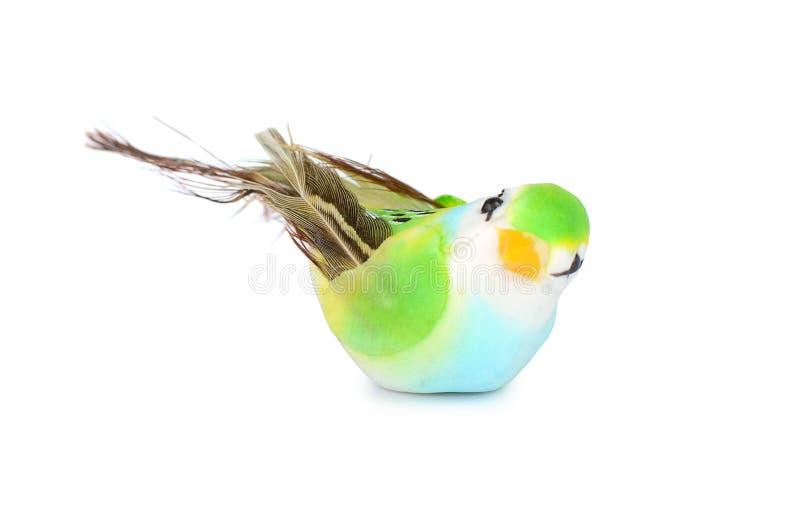 在白色背景隔绝的玩具鸟 图库摄影
