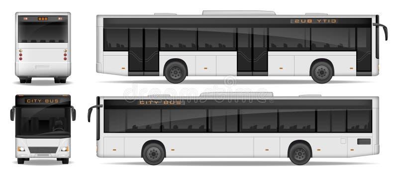 在白色背景隔绝的现实城市公共汽车模板 乘客城市公共汽车大模型边,在前后观看 运输 向量例证