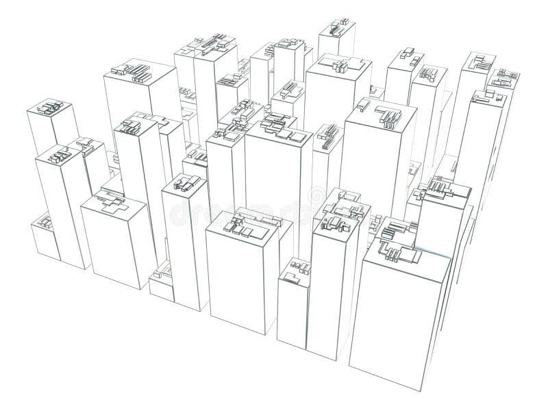在白色背景隔绝的现代企业城市 草图 皇族释放例证