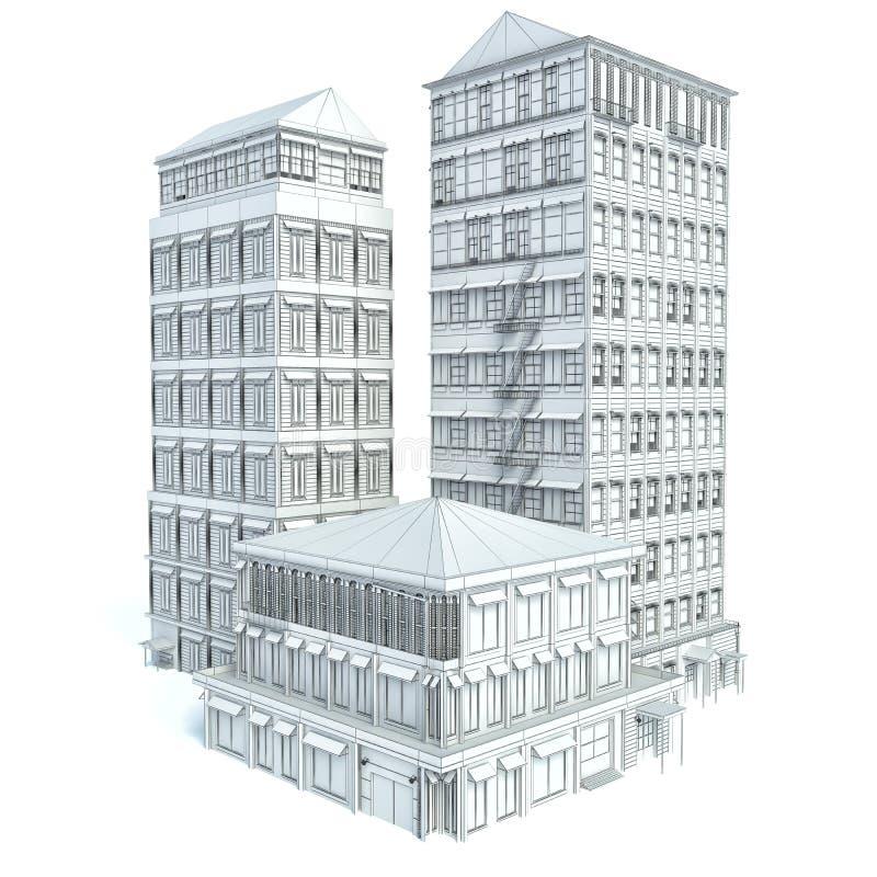 在白色背景隔绝的现代企业城市 草图 库存例证
