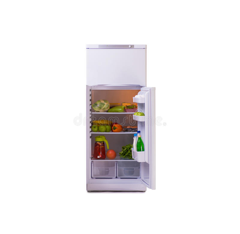 在白色背景隔绝的现代冰箱 库存图片