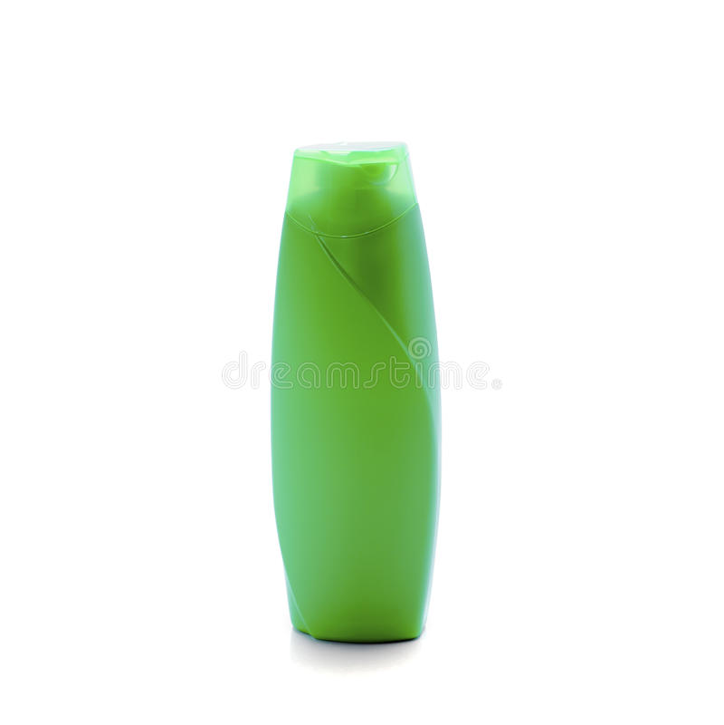 在白色背景隔绝的瓶塑料绿色 免版税库存图片