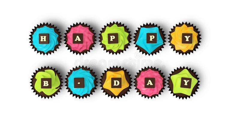 在白色背景隔绝的生日快乐杯形蛋糕 库存例证