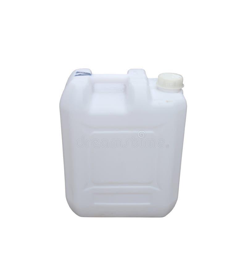 在白色背景隔绝的白色塑料加仑 免版税库存照片