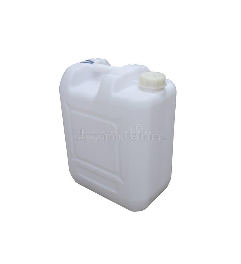 在白色背景隔绝的白色塑料加仑 免版税库存图片