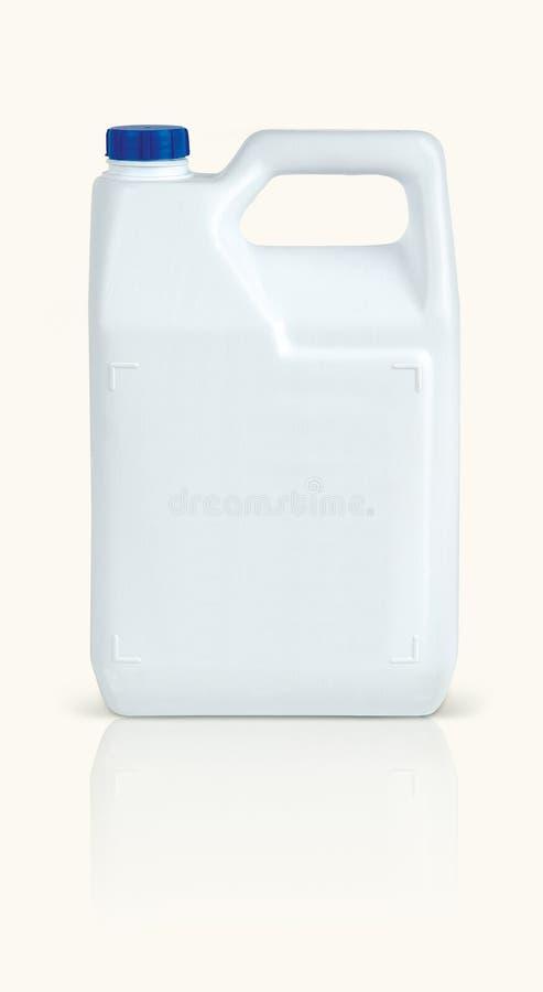 在白色背景隔绝的白色塑料瓶 库存照片
