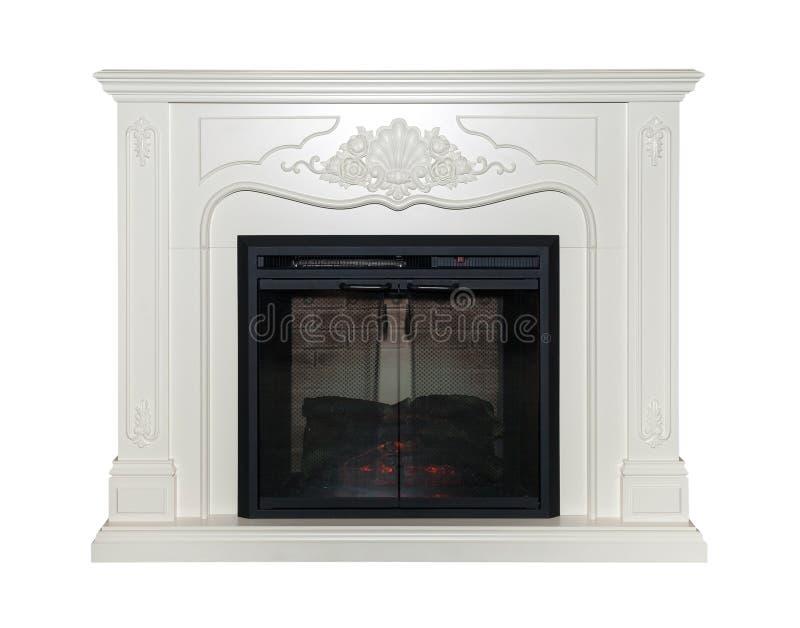 在白色背景隔绝的白色壁炉 免版税库存照片