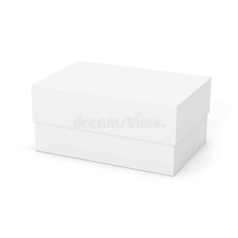 在白色背景隔绝的白色闭合的产品包裹箱子 大模型模板准备好您的设计 3d翻译 向量例证