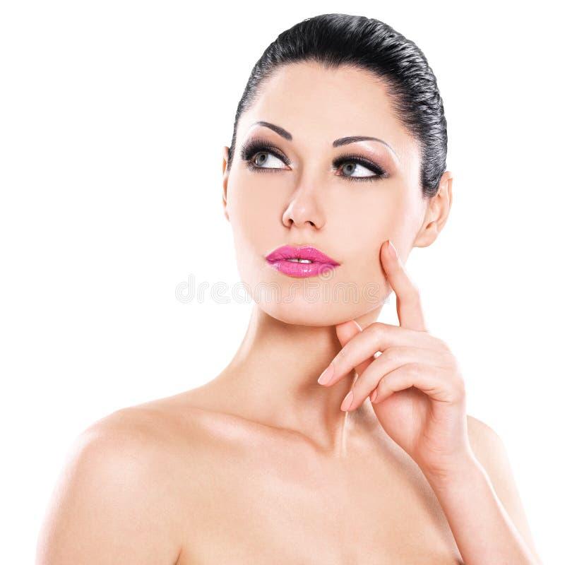 皮肤面孔的美好的传神妇女关心 库存图片