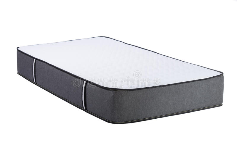 在白色背景隔绝的睡觉的矫形软的床垫 免版税库存照片