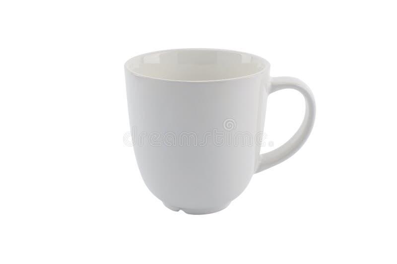 在白色背景隔绝的空的白色杯子 库存照片