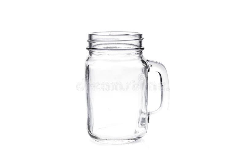 在白色背景隔绝的空的葡萄酒金属螺盖玻璃瓶 免版税库存照片