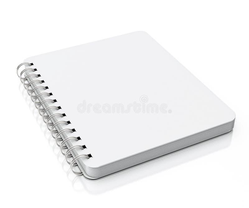 在白色背景隔绝的空螺纹笔记本说谎 向量例证