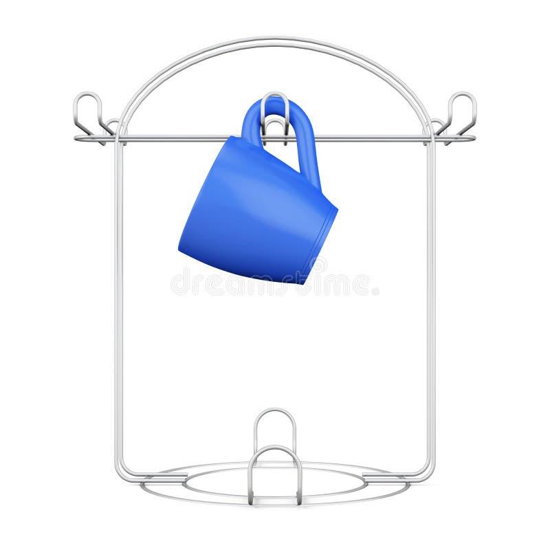 在白色背景隔绝的立场的蓝色杯子 3d翻译 库存例证