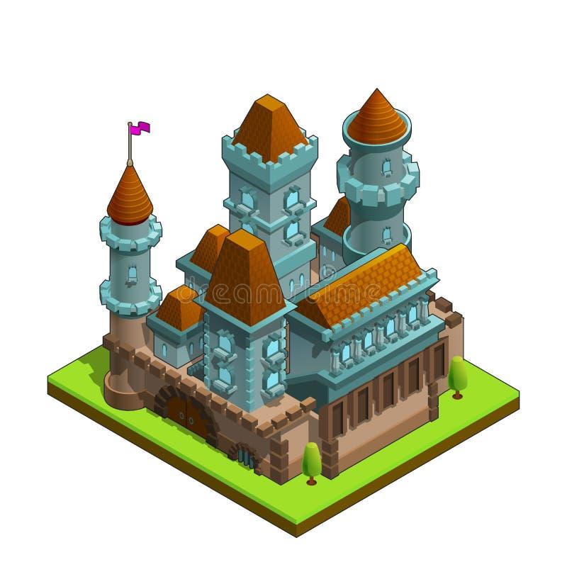 在白色背景隔绝的等量中世纪城堡 向量例证