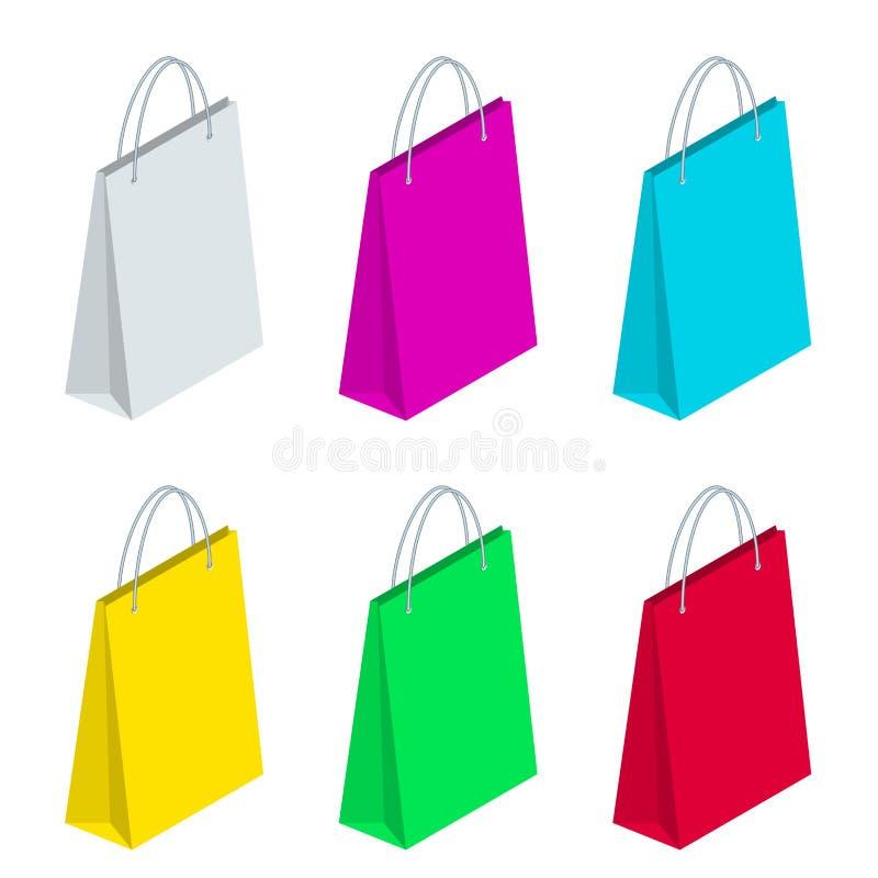 在白色背景隔绝的等量纸购物袋收藏 黑星期五销售 向量例证