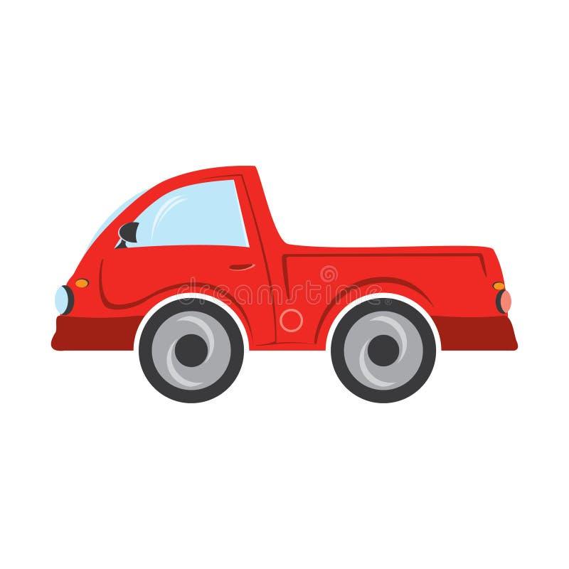 在白色背景隔绝的红色卡车 免版税库存照片