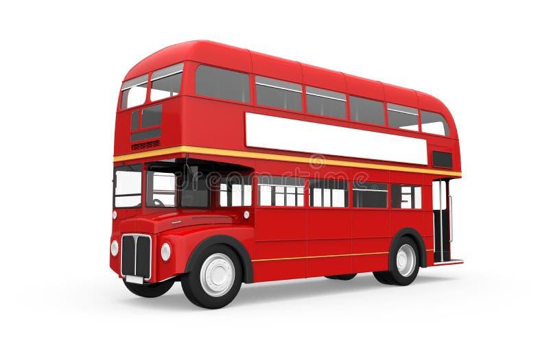 在白色背景隔绝的红色双层公共汽车 免版税库存照片