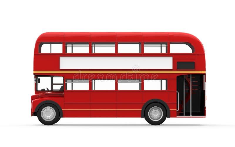 在白色背景隔绝的红色双层公共汽车 库存照片