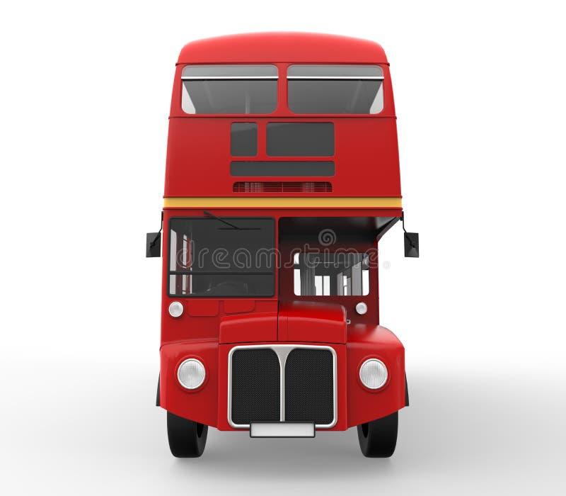 在白色背景隔绝的红色双层公共汽车 库存图片