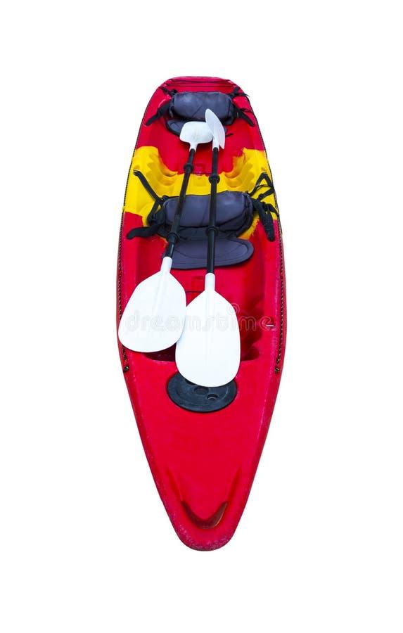 在白色背景隔绝的红色皮船- Krabi泰国 库存照片