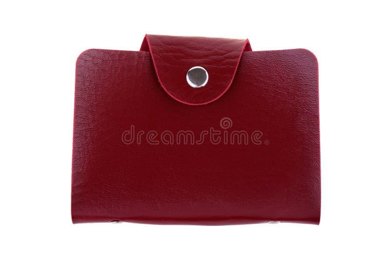 在白色背景隔绝的红色皮革持卡者 免版税库存图片