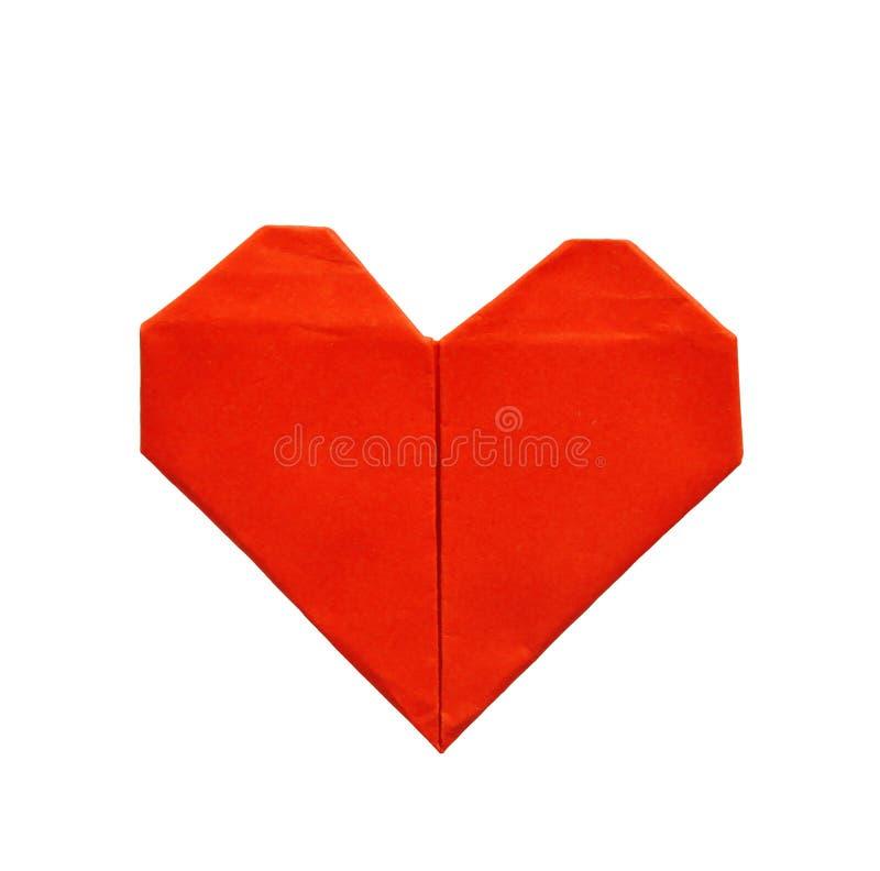 在白色背景隔绝的红色纸origami心脏 库存照片