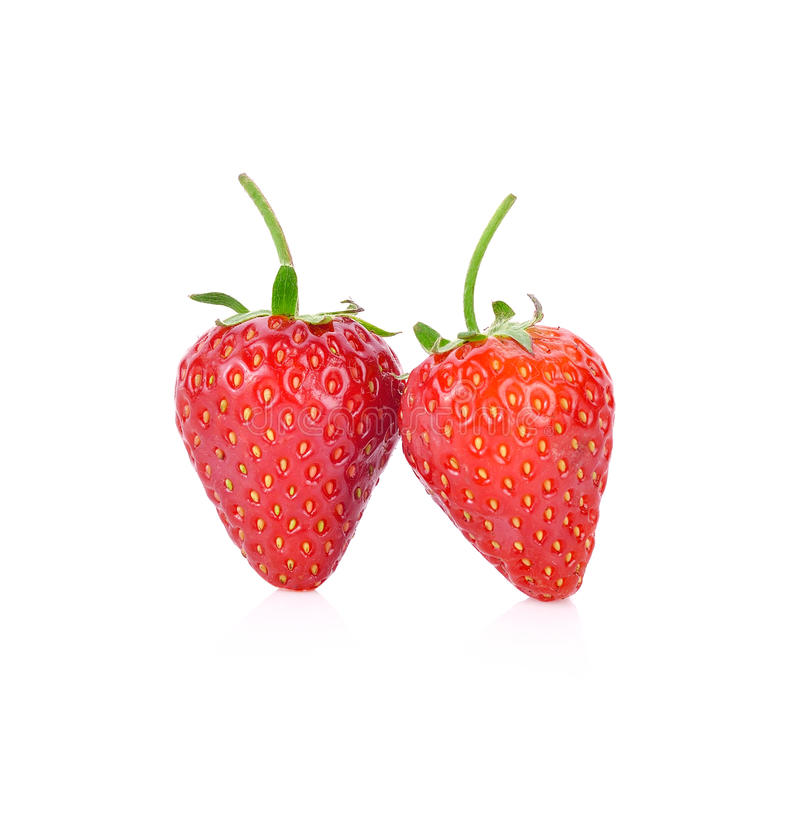 在白色背景隔绝的红色莓果草莓 库存照片