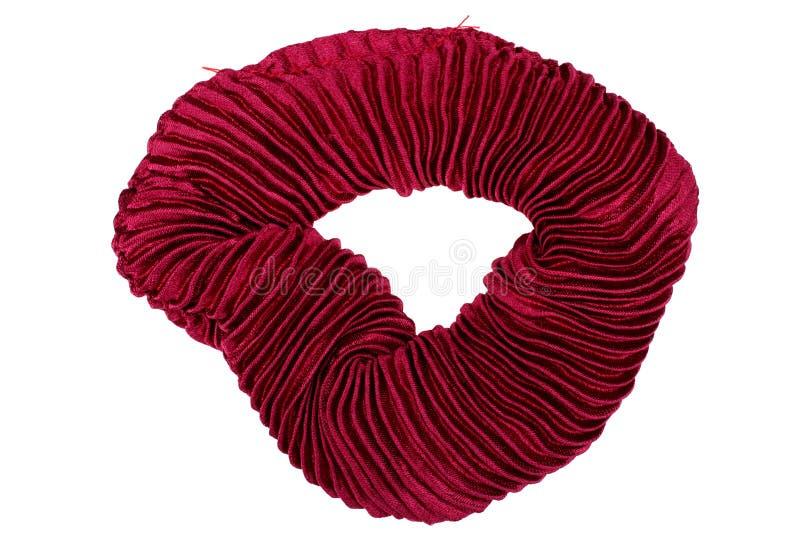 在白色背景隔绝的红色头发scrunchy 免版税库存照片