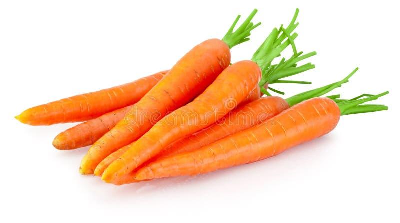 在白色背景隔绝的红萝卜菜堆 免版税库存图片
