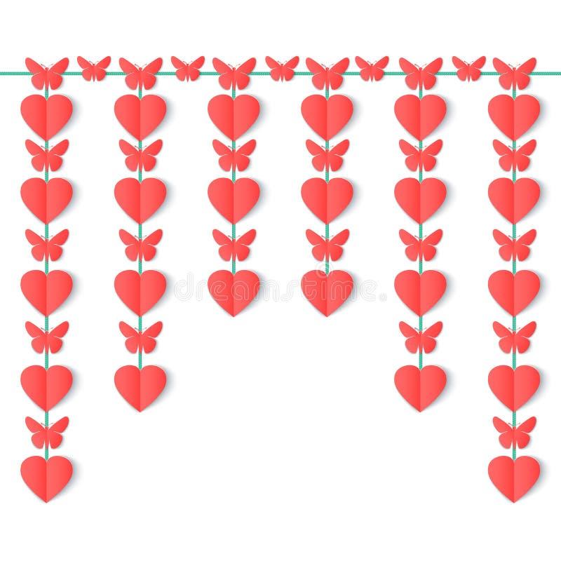 在白色背景隔绝的纸心脏和蝴蝶垂直的诗歌选  向量例证