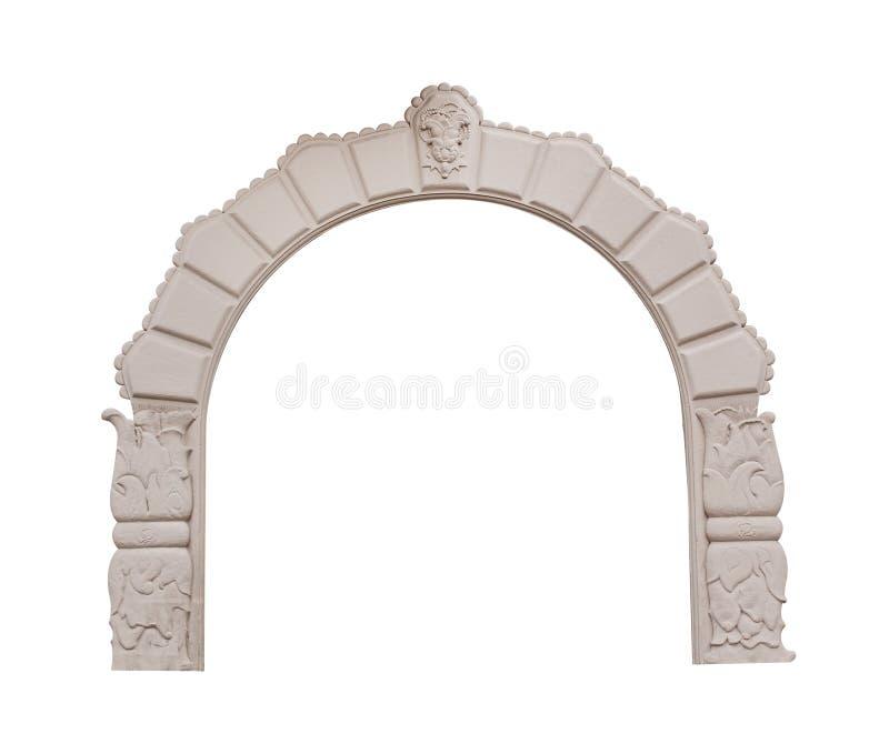 在白色背景隔绝的美丽的古色古香的曲拱 免版税库存照片