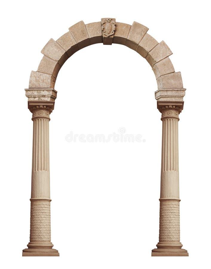 在白色背景隔绝的美丽的古色古香的曲拱 免版税库存图片