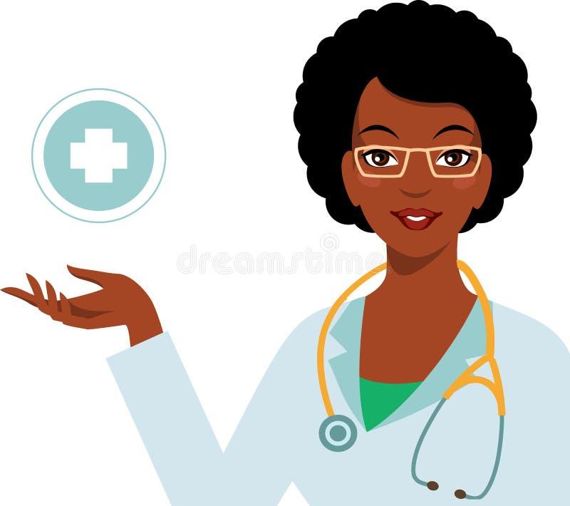 在白色背景隔绝的美丽的非裔美国人的种族妇女医生 库存例证