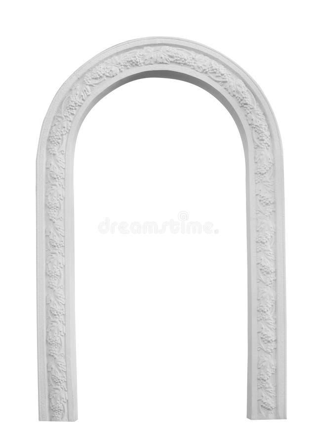 在白色背景隔绝的美丽的建筑曲拱 库存照片
