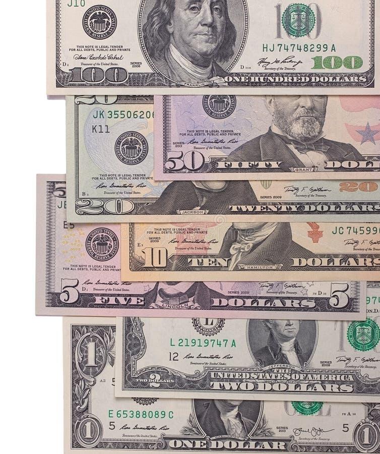 在白色背景隔绝的美国美国美元金融法案 免版税库存照片