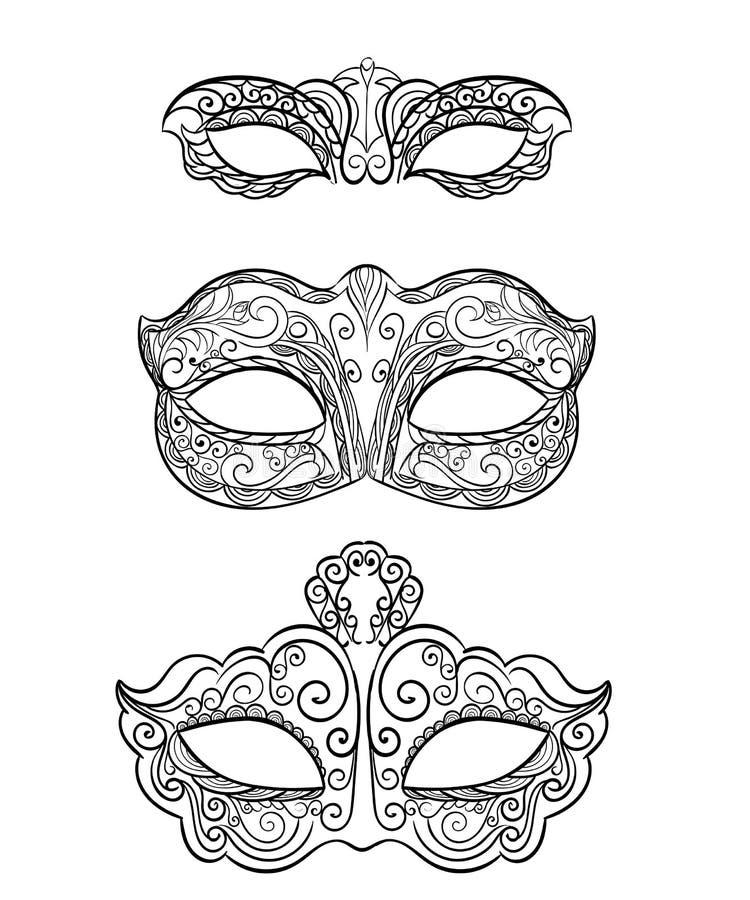 在白色背景隔绝的美好的黑鞋带化妆舞会面具 华丽 皇族释放例证