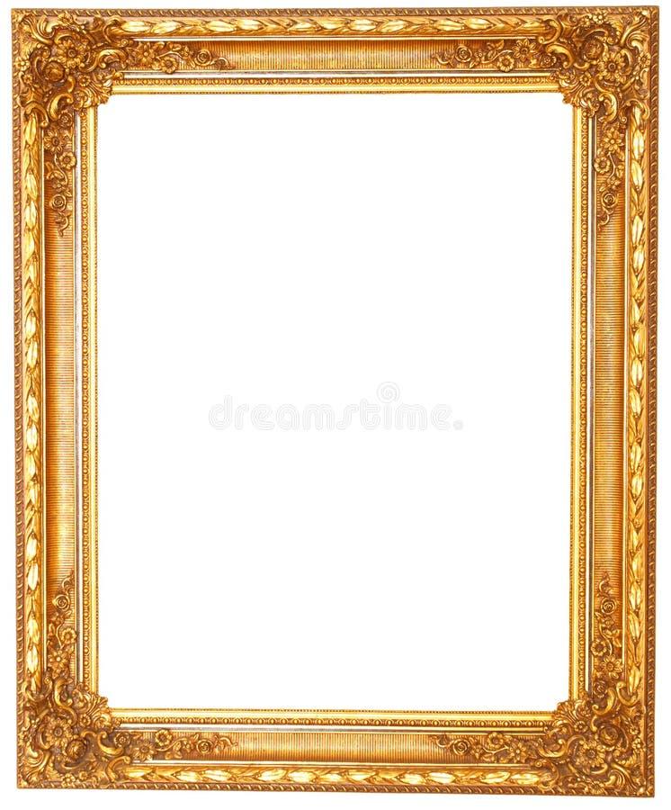 在白色背景隔绝的老古色古香的金黄框架 免版税图库摄影