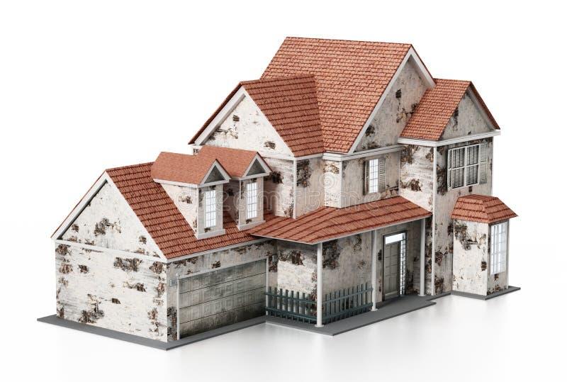 在白色背景隔绝的老房子 3d例证 向量例证