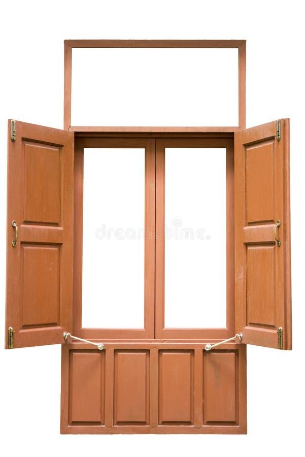 在白色背景隔绝的老红色木双窗口开放 免版税图库摄影