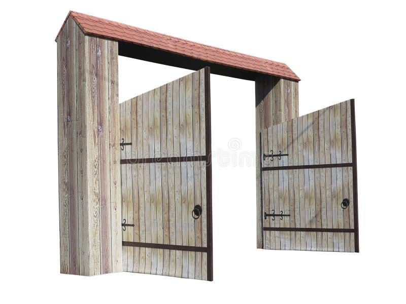 在白色背景隔绝的老被打开的木门 库存图片
