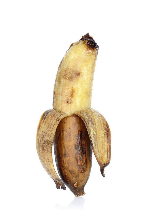 在白色背景隔绝的老香蕉 库存图片