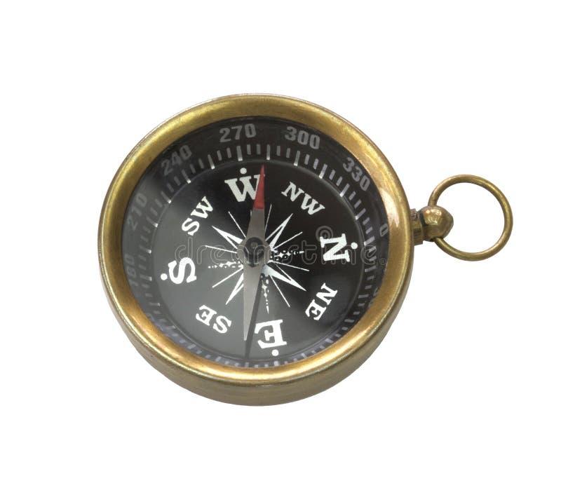 在白色背景隔绝的老,黄铜金属指南针 免版税库存照片