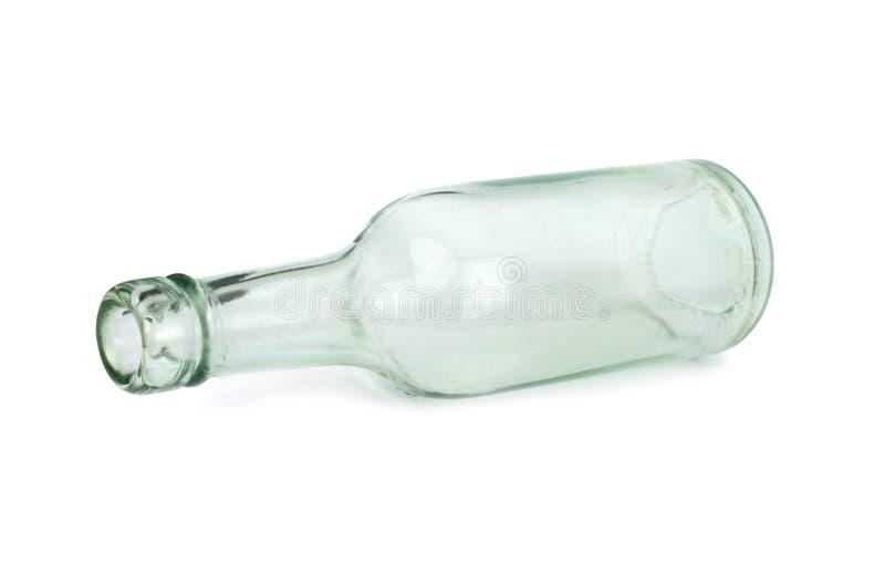 在白色背景隔绝的老玻璃瓶 库存图片