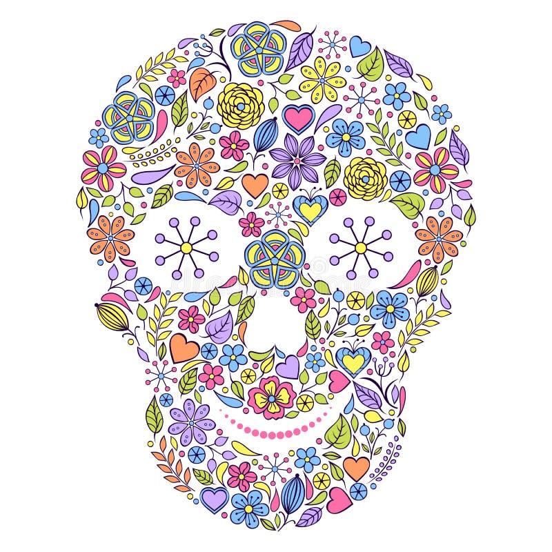 在白色背景隔绝的花卉头骨。 皇族释放例证
