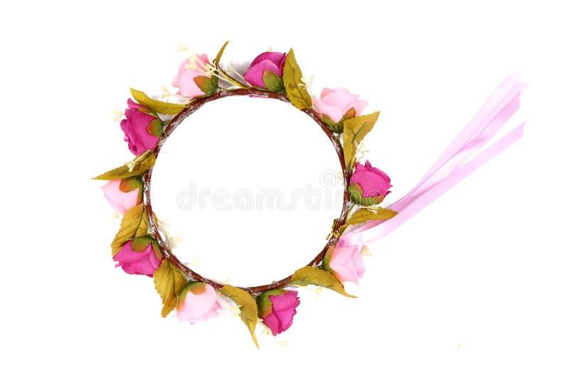 在白色背景隔绝的花花冠 库存照片