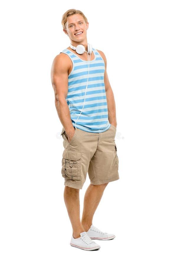 在白色背景隔绝的英俊年轻人微笑 免版税图库摄影