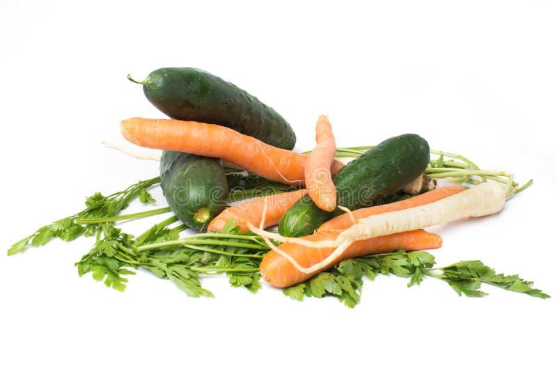 在白色背景隔绝的菜,红萝卜,黄瓜,荷兰芹根 免版税图库摄影