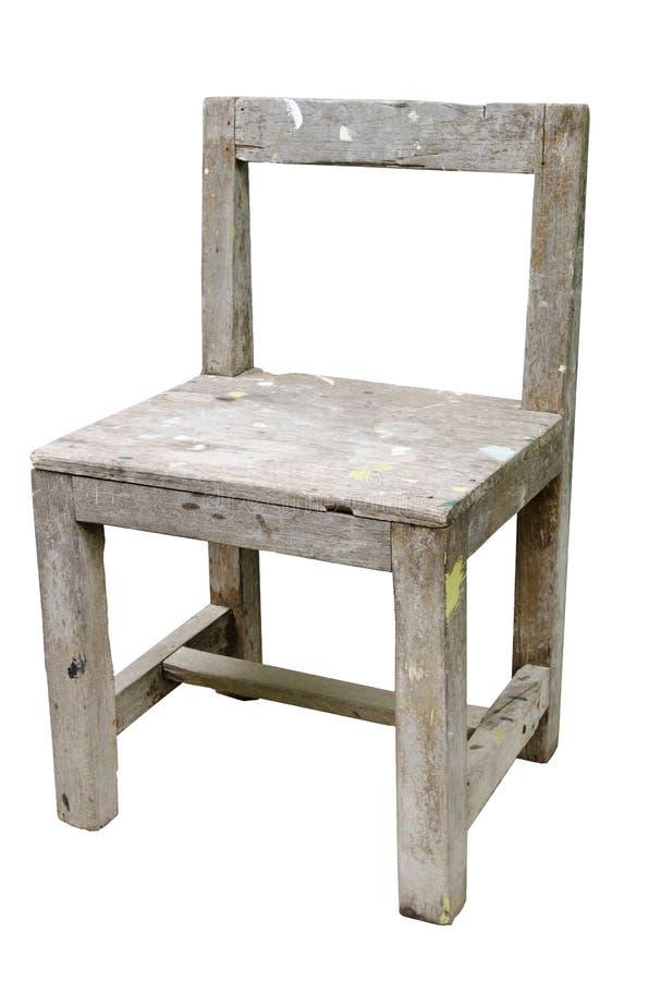 在白色背景隔绝的葡萄酒老木椅子 库存照片